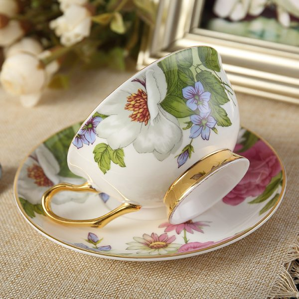 Classy British Royal Bone China Coffee Cup Ceramic Porcelain Tea Cup Saucer Spoon 2