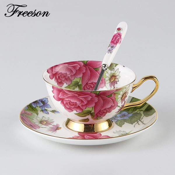 Classy British Royal Bone China Coffee Cup Ceramic Porcelain Tea Cup Saucer Spoon 1
